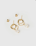 Izoa Serenity Earrings Gold Freshwater Pearl