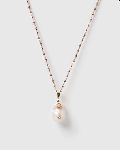 Miz Casa & Co Pearla Pendant Necklace Gold Pink