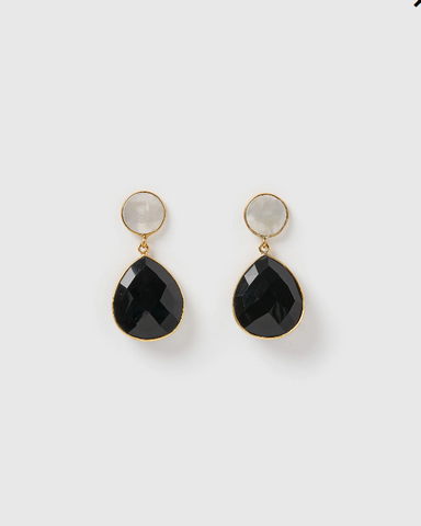 Izoa Gala Earrings Black Onyx Pearl Gold