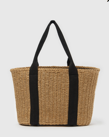 Izoa Jules Woven Tote Bag Natural Black