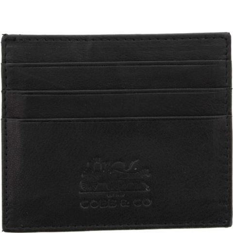 COBB & CO Jordan RFID Leather Card Holder BLACK