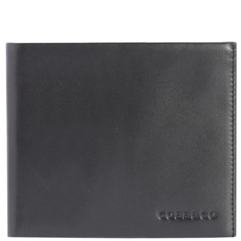 COBB & CO Corey RFID Leather Bi-Fold Wallet BLACK