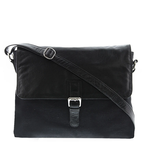 COBB & CO Notting Leather Messenger BLACK