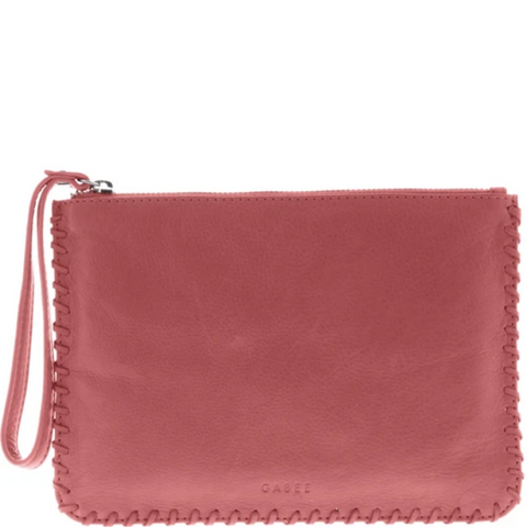 GABEE Staten Soft Leather Pouch Whipstitch Wristlet