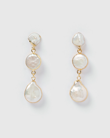 Miz Casa & Co Aaralyn 3 Tier Drop Earring Iridescent Pearl