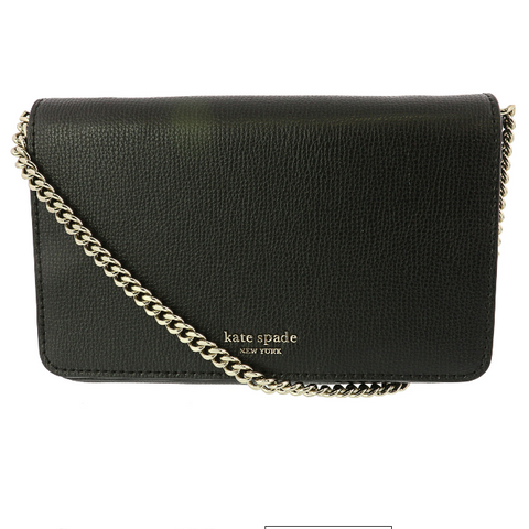 KATE SPADE Sylvia Chain Leather Cross Body Bag/Wallet BLACK