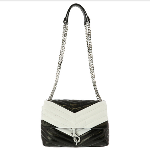 REBECCA MINKOFF Edie Cross Body Bag BLACK/OPTIC WHITE