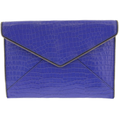 REBECCA MINKOFF Women's Leo Leather Clutch BRIGHT BLUE