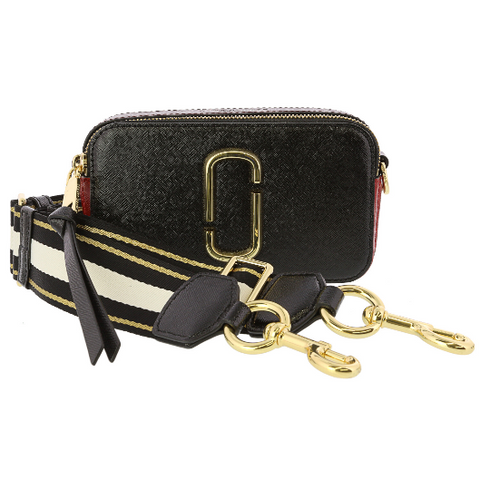 Marc Jacobs Snapshot Leather Shoulder Bag Black Red