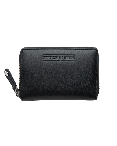 STITCH & HIDE LEATHER Hunter ZIP AROUND Card Wallet BLACK