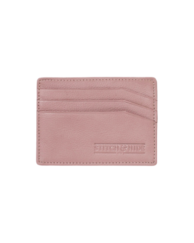 STITCH & HIDE LEATHER ALICE CARDHOLDER DUSTY ROSE PINK