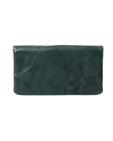 STITCH & HIDE WASHED LEATHER BONDI WALLET PETROL GREEN