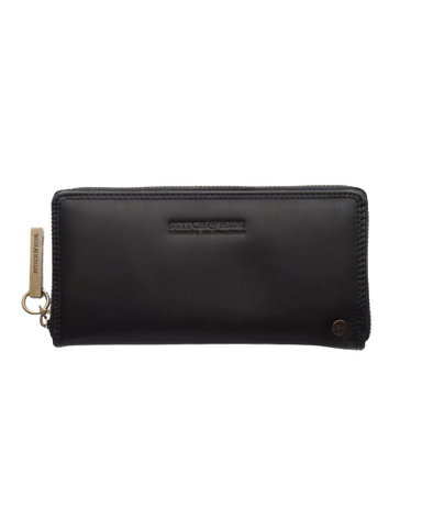 STITCH & HIDE LEATHER Christina ZIP AROUND Wallet - Classic Collection EXPRESSO BLACK