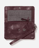 STITCH & HIDE WASHED LEATHER MUNICH POUCH MERLOT RED