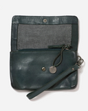 STITCH & HIDE WASHED LEATHER MUNICH POUCH PETROL GREEN