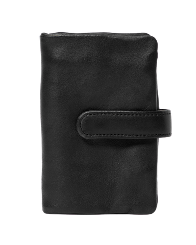 STITCH & HIDE WASHED LEATHER NEWPORT WALLET BLACK