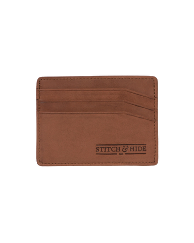 STITCH & HIDE LEATHER ALFRED CARDHOLDER CAFE BROWN