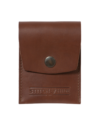 STITCH & HIDE LEATHER GODFREY SNAP CLOSURE POUCH WALLET BROWN