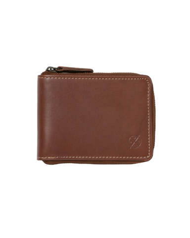 STITCH & HIDE LEATHER WILLIAM ZIP AROUND WALLET BROWN