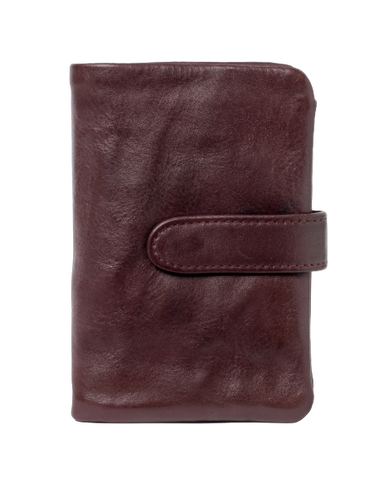STITCH & HIDE WASHED LEATHER NEWPORT WALLET MERLOT RED