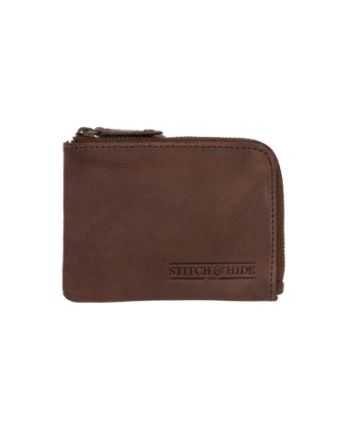 STITCH & HIDE LEATHER HENDRIX ZIP WALLET BROWN