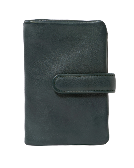 STITCH & HIDE WASHED LEATHER NEWPORT WALLET PETROL GREEN