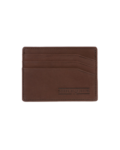 STITCH & HIDE LEATHER ALFRED CARDHOLDER BROWN