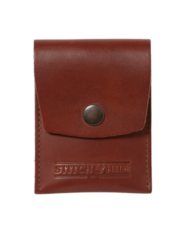 STITCH & HIDE LEATHER GODFREY SNAP CLOSURE POUCH WALLET TAN