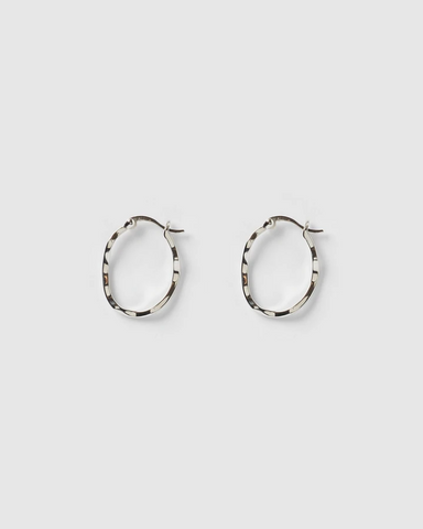 Izoa Herringbone Hoop Earrings Silver