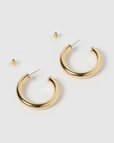 IZOA SMALL VOLUMINOUS HOOPS EARRINGS GOLD