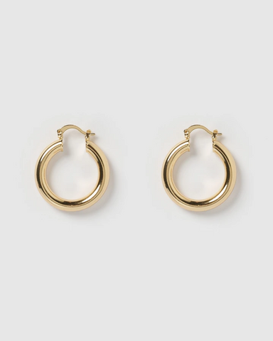 IZOA TEDDY HOOP EARRINGS SMALL GOLD