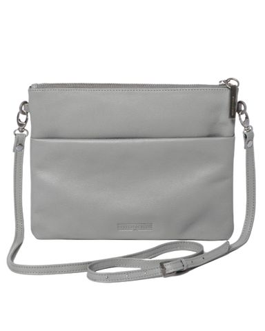 STITCH & HIDE LEATHER JULIETTE CROSSBODY/CLUTCH BAG MISTY GREY - FREE KEYRING