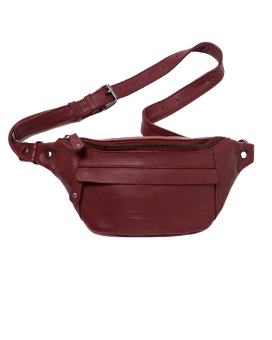 STITCH & HIDE LEATHER BAILEY HIP/CROSSBODY BAG CHERRY RED - FREE KEYRING