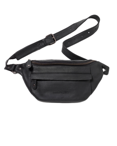 STITCH & HIDE LEATHER BAILEY HIP/CROSSBODY BAG BLACK - FREE KEYRING