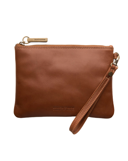 STITCH & HIDE LEATHER CASSIE CLUTCH CLASSIC COLLECTION MAPLE BROWN - FREE KEYRING