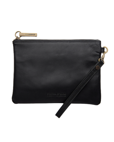 STITCH & HIDE LEATHER CASSIE CLUTCH CLASSIC COLLECTION BLACK - FREE KEYRING