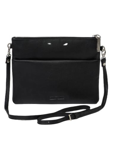 STITCH & HIDE LEATHER JULIETTE CROSSBODY/CLUTCH BAG BLACK - FREE KEYRING