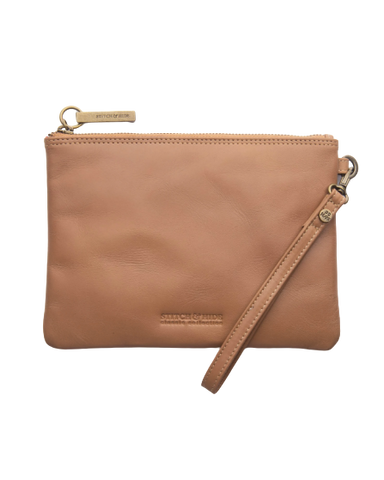 STITCH & HIDE LEATHER CASSIE CLUTCH CLASSIC COLLECTION LATTE BROWN - FREE KEYRING