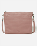 STITCH & HIDE LEATHER JULIETTE CROSSBODY/CLUTCH BAG DUSTY ROSE PINK - FREE KEYRING
