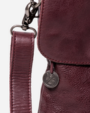 STITCH & HIDE WASHED LEATHER BERLIN REPORTER/SHOULDER BAG MERLOT RED - FREE WALLET POUCH