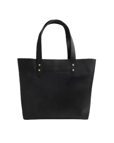 STITCH & HIDE LEATHER EMMA TOTE BAG BLACK - FREE WALLET POUCH