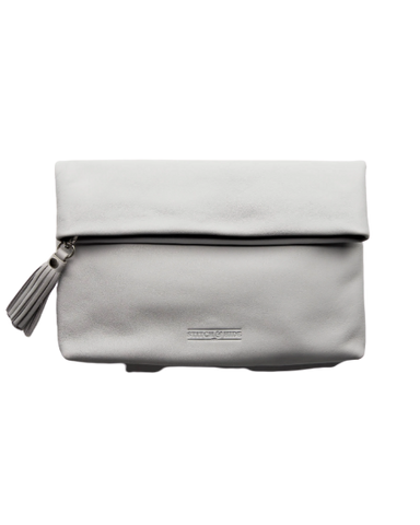 STITCH & HIDE LEATHER LILY CLUTCH MISTY GREY - FREE KEYRING
