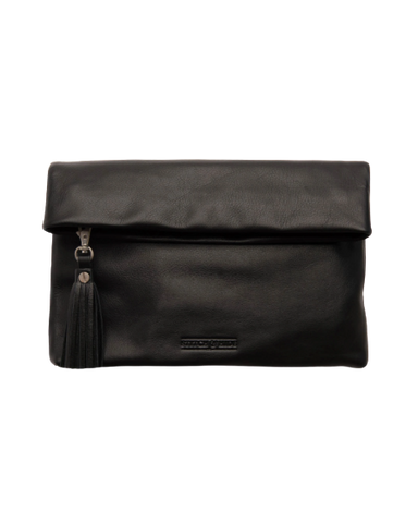 STITCH & HIDE LEATHER LILY CLUTCH BLACK - FREE KEYRING
