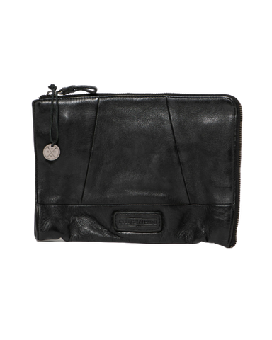 STITCH & HIDE WASHED LEATHER MALIBU CLUTCH BLACK - FREE KEYRING