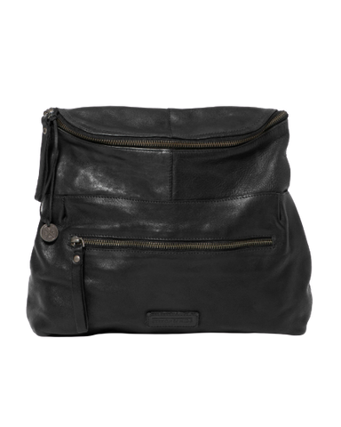 STITCH & HIDE WASHED LEATHER AVALON CROSSBODY BAG BLACK - FREE WALLET POUCH