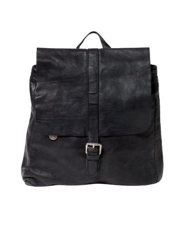 STITCH & HIDE WASHED LEATHER HAMBURG BACKPACK BLACK - FREE WALLET POUCH