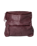 STITCH & HIDE WASHED LEATHER AVALON CROSSBODY BAG MERLOT RED - FREE WALLET POUCH