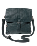STITCH & HIDE WASHED LEATHER BERLIN REPORTER/SHOULDER BAG PETROL GREEN - FREE WALLET POUCH