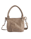 STITCH & HIDE WASHED LEATHER SANTA MONICA SHOULDER CROSSBODY BAG TAUPE CREAM - FREE WALLET POUCH