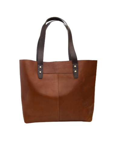 STITCH & HIDE LEATHER EMMA TOTE BAG - CLASSIC COLLECTION - MAPLE BROWN - FREE WALLET POUCH
